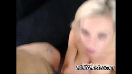 Hot tattoo blonde blowing fat boys cock on webcam