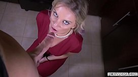 Blonde shoplifter MILF Kenzie Taylor got caught and blackmailed by stepson and performs a handsfree blowjob while wearing handcuffs.