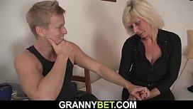 Blonde mature neighbor sucks and rides his dick
