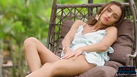 Petite MILF beauty Gloria Sol outdoor striptease porn