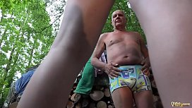 Grandpa and young girls caught and fucked in old young threesome blowjob