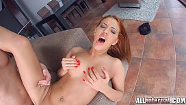 Allinternal redhead shows us her cum filled pussy