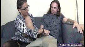 Hugetits mature cougar jerking off hard cock