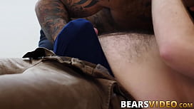Bear with a fat ass lays down and lets inked stud pound him sex image