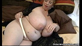 Fat granny Dagny with her big tits plays with vibrator shycountrycutie