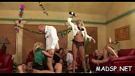 Horny slutty girls enjoy a male treat at a sex party