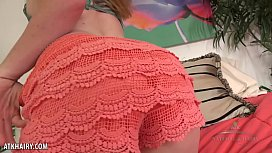 Thelma Sleaze rubs her hairy crotch