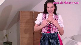 German Slut Licking Her Nipples Hard