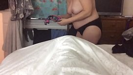 Sexy unaware busty blonde wife