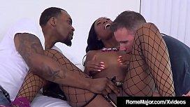 Ebony Mocha Menage Mouth Fucked By Rome Major &amp_ White Bro!