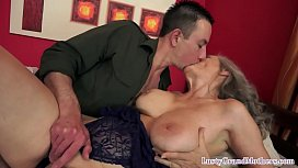 Busy granny spreads her legs for cock