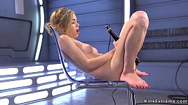 preview - Blonde squirting on long cock fucking machine