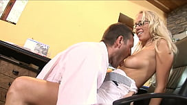 Sexy blonde wife cheating husband with colleague