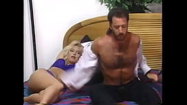 Retro blond in blue lingerie gives BJ then hairy pussy fucked by stud