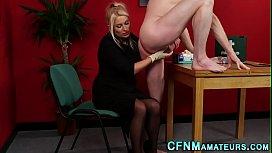 nurse strokes cock