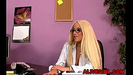 Sexy adult star Gina fucks with lucky guy in the office ALIVEGIRLcom