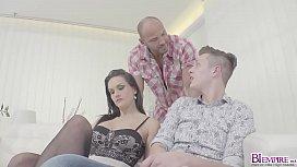 Gilrfriend parents seduces her boyfriend in hot threesome sex!