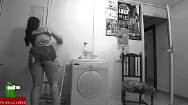 They fuck in the laundry room and he cums on her ass. SAN090