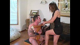 Amber Rayne gives a sensual painful ballbusting to a sexy guy