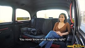 Brunette teen gets fucked really hard in a fake taxi