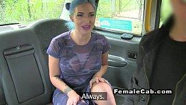 Female cab driver sucks big black cock
