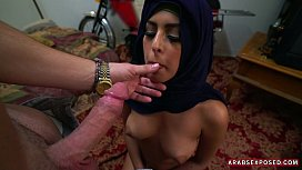 Hijab girl on her knees for cock