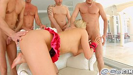 Cumforcover blonde is drenched in cum during this scene