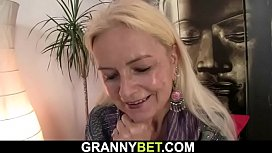 Slim blonde granny loves sucking and riding his cock
