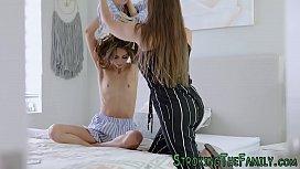 Flat chested stepsister sucks