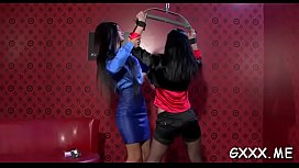 Glamorous lesbian engages in some hot kissing and dildo play