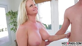 Blonde MILF Maya Devine gives blowjob