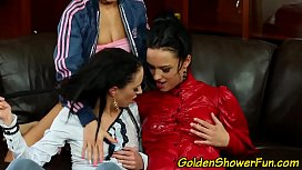 Lesbian pissing threesome