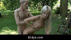 Lean old man does anal sexy longhaired blonde
