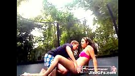 Public Teens fuck on a trampoline with creampie and audio