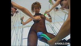 Busty Japanese hottie is tied up and teased with toys