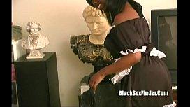 ebony maid giving handjob suckin nuts