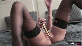 Euro babe Maria uses a vibrator to make herself cum