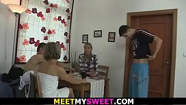 Old couple with blonde teen suck and lick each other