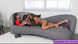 Busty mom and pretty teen enjoyed pussy fondling on the couch