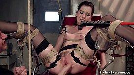 Brunette punished with electrode pads