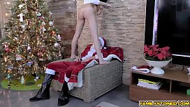 Ariana Marie goes on top of Santas candy and bounce her naughty pussy!