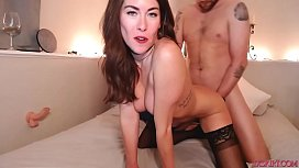 Brunette couples fuck and blowjob on cam pt3