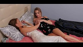 Two beautiful blondes scissoring for the first time