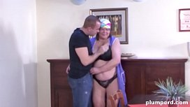 Old and fat cleaning lady gets abused by house owner xnxx image