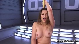 Hairy pussy beauty squirts on fucking machine