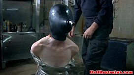 Breath play hooded sub cattle prodded xxx video