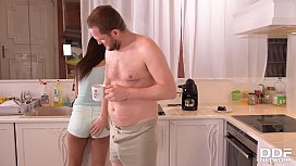 Maid Coco De Mal seduced to anal sex in kitchen by Tina Kay &amp_ her husband