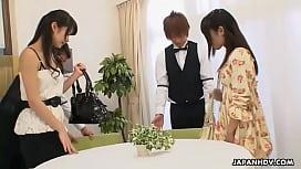 Japanese babes Akubi  and Runa  had fun, uncensored