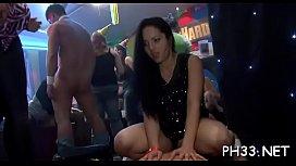 Plenty of gangbang on dance floor blow jobs from blondes wild fuck