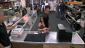 Latin chick sells her TV and banged hard by horny pawnkeeper